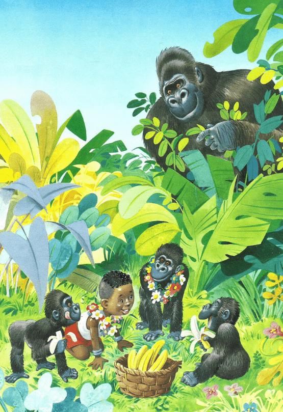 Однажды маленький темнокожий мальчик Танту потерялся в джунглях. Никому не сказав, без разрешения он пошёл собрать немного бананов. И, понятное дело, заблудился.