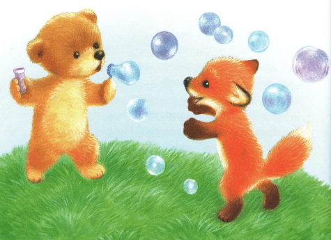 Привет! — весело крикнул лисёнок. — Я Рыжик, а как тебя зовут? — Топтыжка, — ответил медвежонок. — Давай будем дружить, — предложил Рыжик.