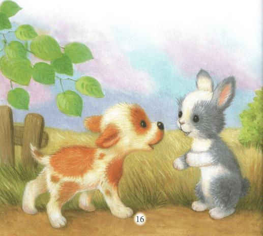 Жил да был любопытный щенок. Всё ему было интересно. Увидел он как-то раз за калиткой зайчонка и побежал за ним. А зайчик прыг да скок, прыг да скок и в лес наутёк. Щенок за ним. Зайчонок скачет, только хвостик мелькает.