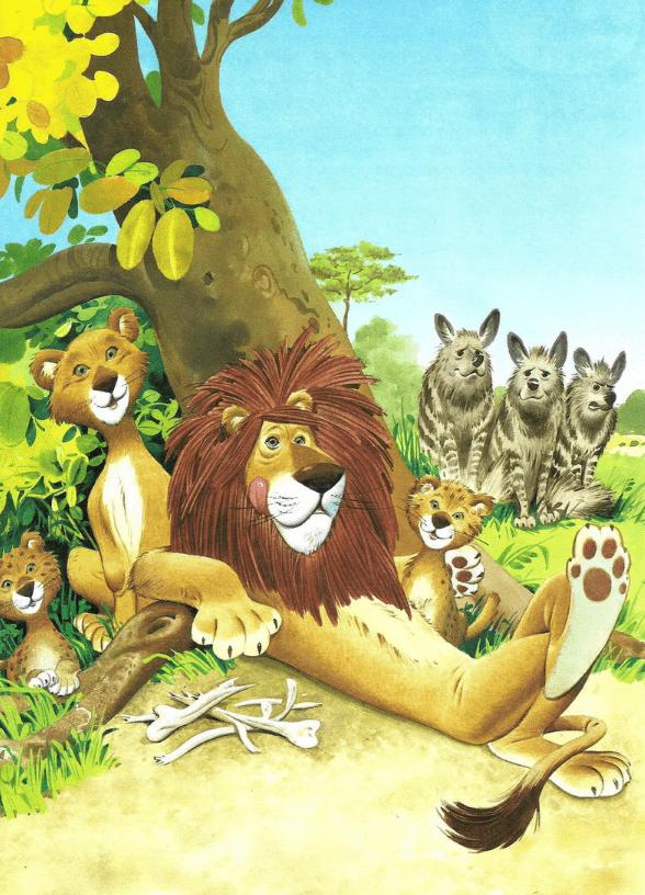 Однажды лев Нун-Муаль после сытного обеда прилёг отдохнуть в тени баобаба.