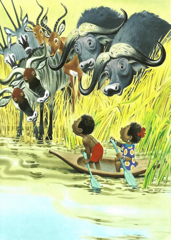 Однажды двое чернокожих ребятишек, мальчик Матабе и его сестра Кедди, плыли в лодке по реке Чиумбе.